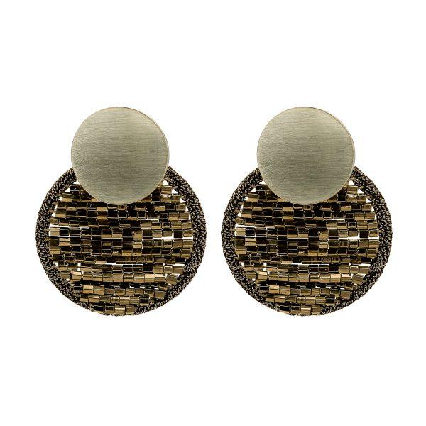 Handgemaakte oorbellen circle beads grey