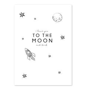 Sieraden kaartje 'to the moon and back'