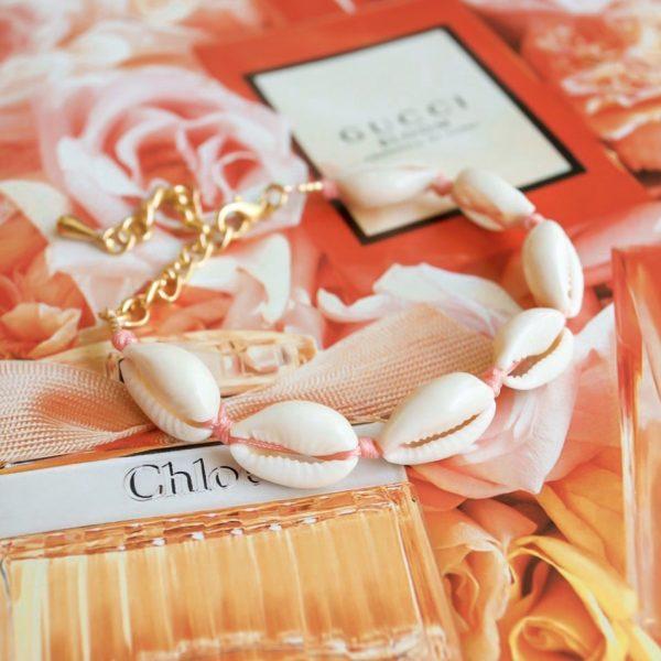 Handgemaakte armband pink shell