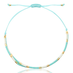 Handgemaakte armband colourful beads blue