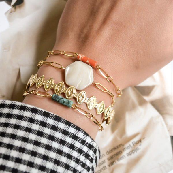 Handgemaakte armband orange bar