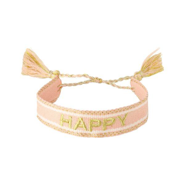 Handgemaakte armband happy beige