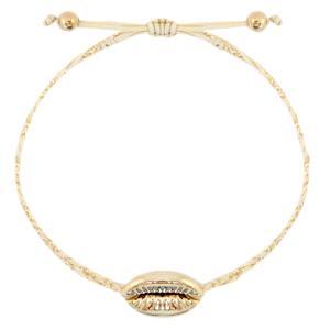 Handgemaakte armband braided shell gold beige