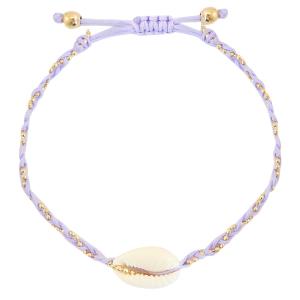 Handgemaakte armband braided shell lila