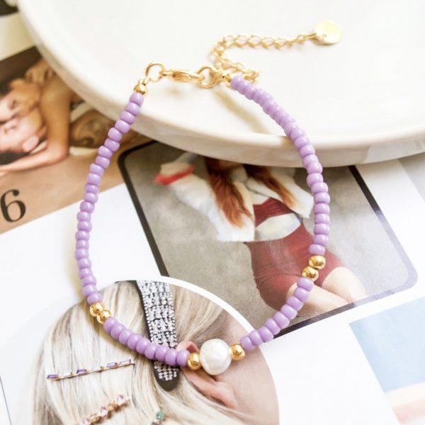 Handgemaakte armband lila pearl