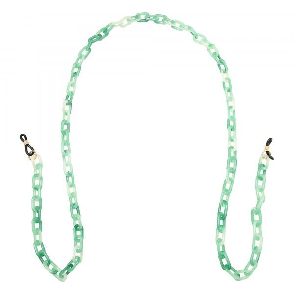 Handgemaakt brillenkoordje chunky chain green