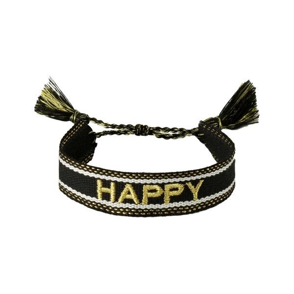 Handgemaakte armband happy black