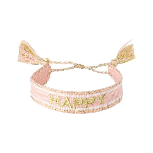 Handgemaakte armband happy pink