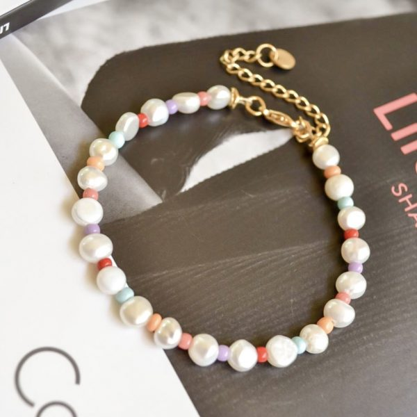 Handgemaakte armband rainbow pearl