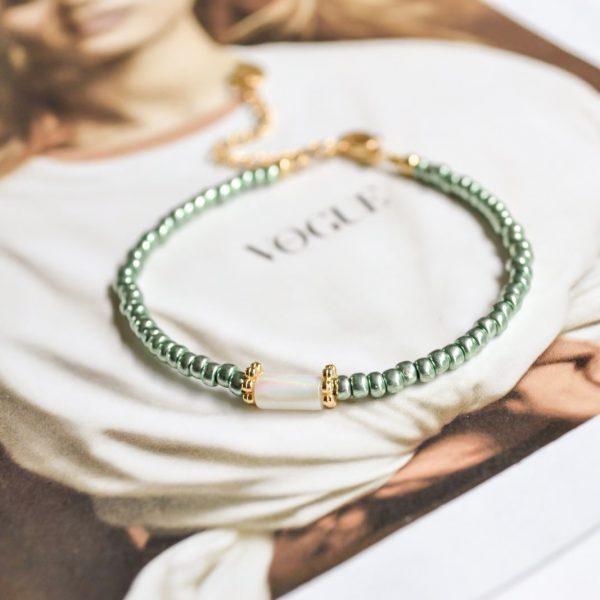 Handgemaakte armband chique green beads