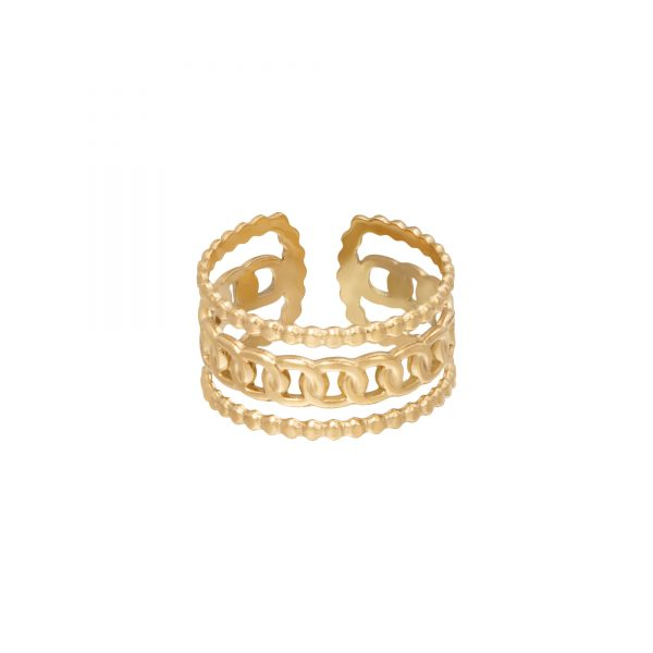 Ring triple chains goud