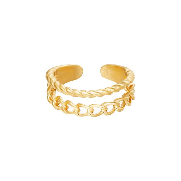 Ring double chains goud