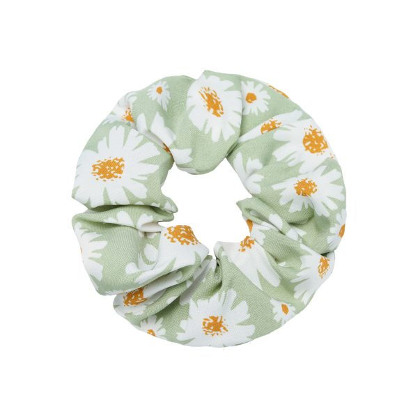 Scrunchie daisy flowers green