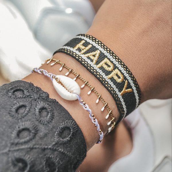Handgemaakte armband small white bars