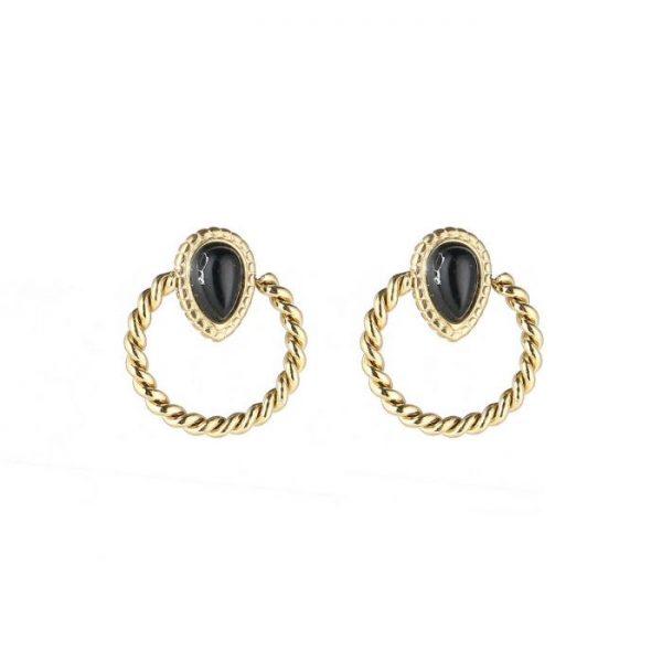 Handgemaakte oorbellen black stone rounds