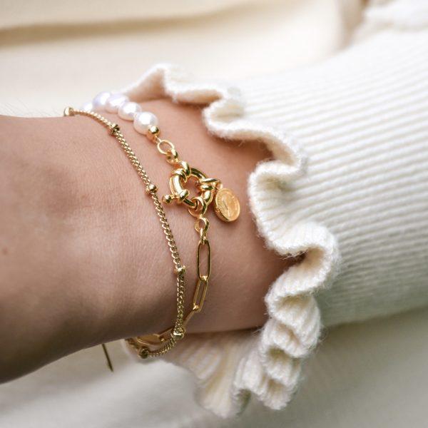 Handgemaakte armband pearly chain