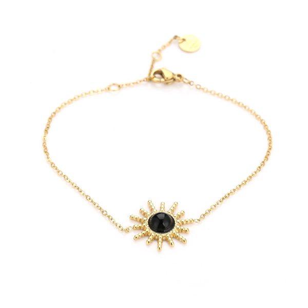 Handgemaakte armband sunflower black