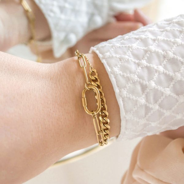 Handgemaakte armband chains two in one