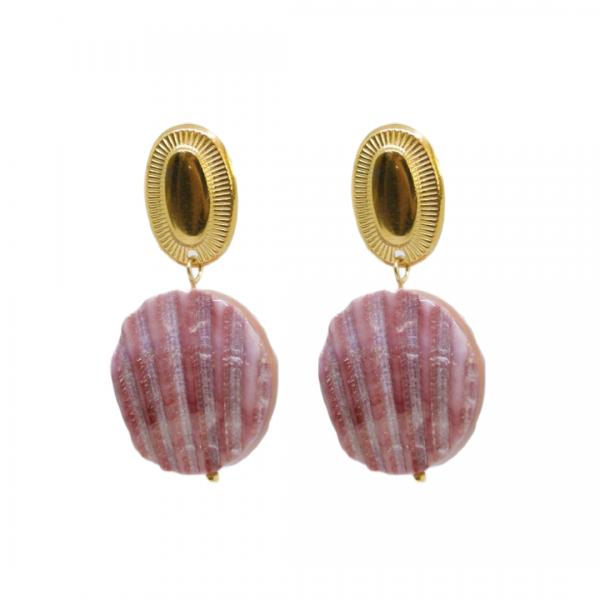 Handgemaakte oorbellen lila shell drops