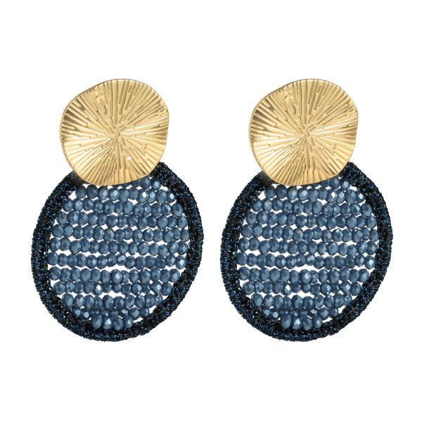Oorbellen glitter rounds blue